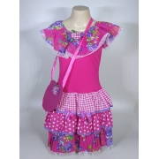 Vestido Caipira Infantil Flores Roxa Tam. G