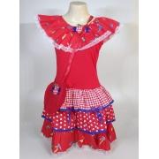 Vestido Caipira Infantil Vermelho Beija-Flor Tam. G