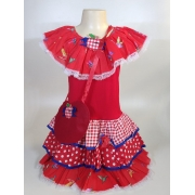 Vestido Caipira Infantil Vermelho Beija-Flor Tam. P