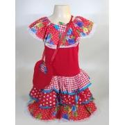 Vestido Caipira Infantil Vermelho Flores Tam. P