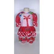 Vestido Junino Infantil Babado Bolinha Tam. 12