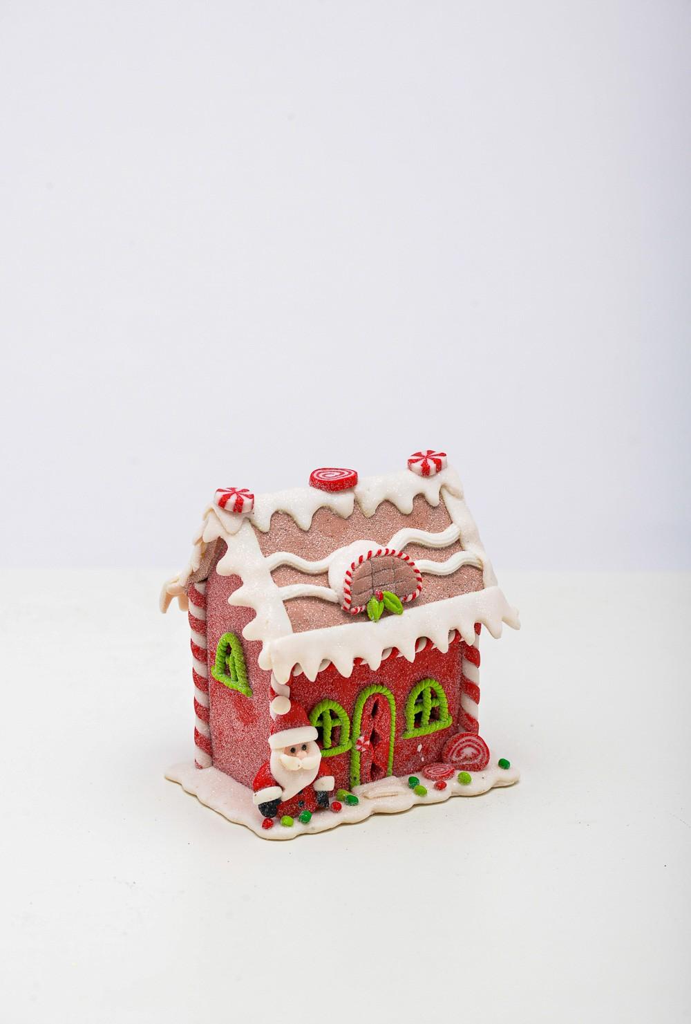 Casinha Natalina De Bisqui com Led  Papai Noel