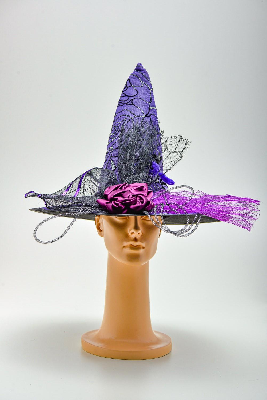 Chapéu Bruxa Rosas Pratas