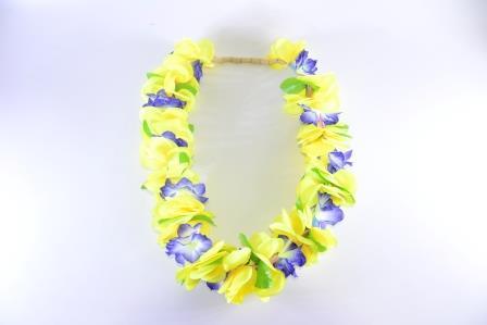 Colar Havaiano Tecido Flores Amarelo E Azul