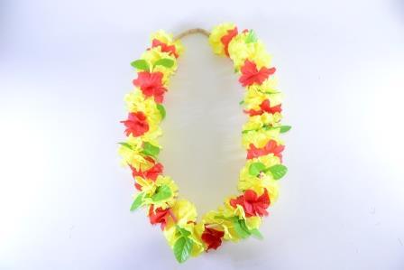 Colar Havaiano Tecido Flores Amarelo E Vermelho