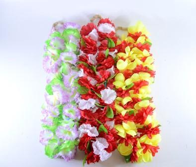 Colar Havaiano Tecido Flores Amarelo, Roxo E Verde