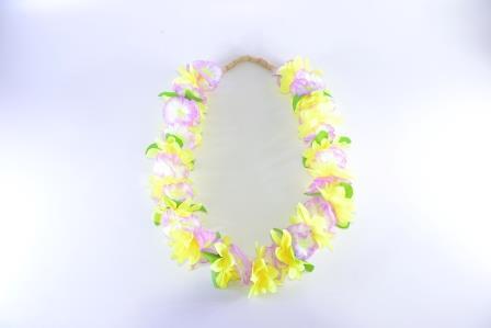 Colar Havaiano Tecido Flores Amarelo Verde E Roxo