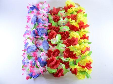 Colar Havaiano Tecido Flores Azul, Branco E Rosa