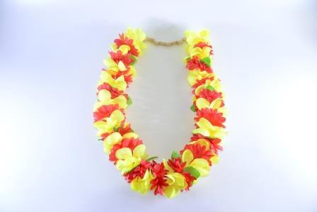 Colar Havaiano Tecido Flores Laranja, Roxo E Verde