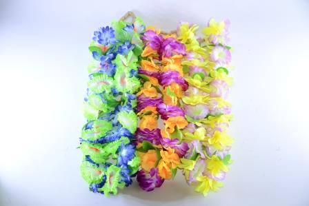 Colar Havaiano Tecido Flores Verde E Azul