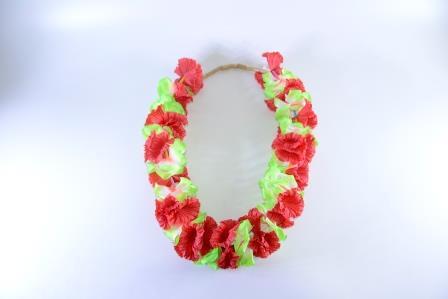 Colar Havaiano Tecido Flores Vermelho E Verde
