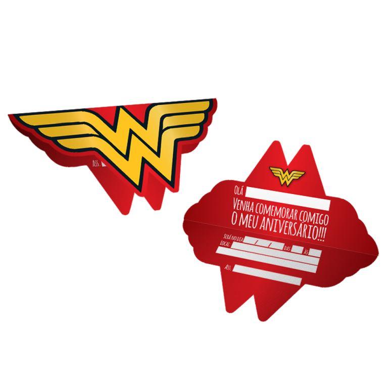 Convite 15,8Cm X 14,8Cm. Wonder Woman