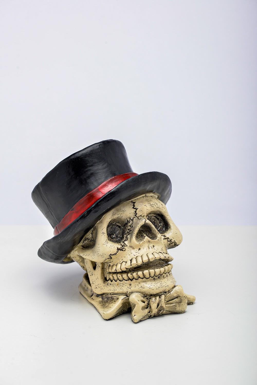 Cranio Cofre C/ Cartola Resina