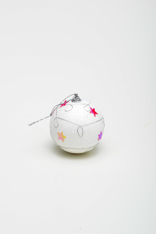 Enfeite Bola Natal C/ Estrela Cx C/3