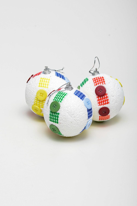 Enfeite Bola Natal C/ Tecido E Botão C/ 2Und
