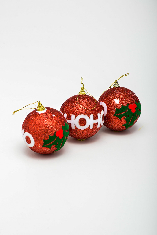 Enfeite Bola Natal Hohoho Pct C/3