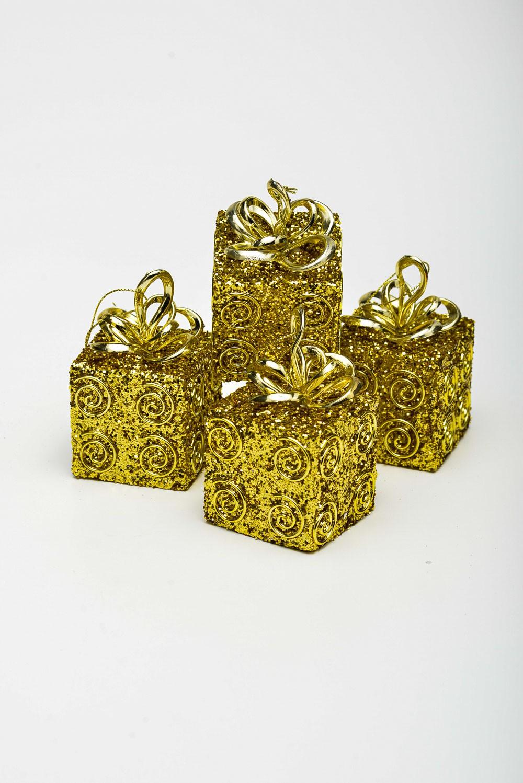 Enfeite Caixa De Presente com Aspiral 4 Unidades