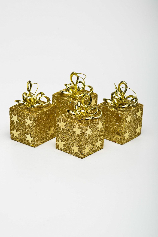 Enfeite Caixa De Presente com estrela 4 unidades