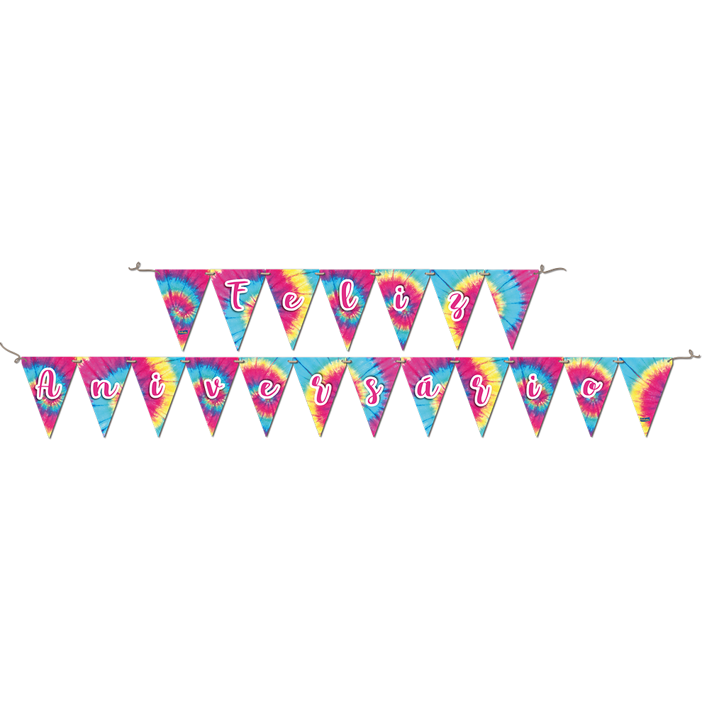 Faixa Feliz Aniversário 2,40M X 19Cm Tie Dye.