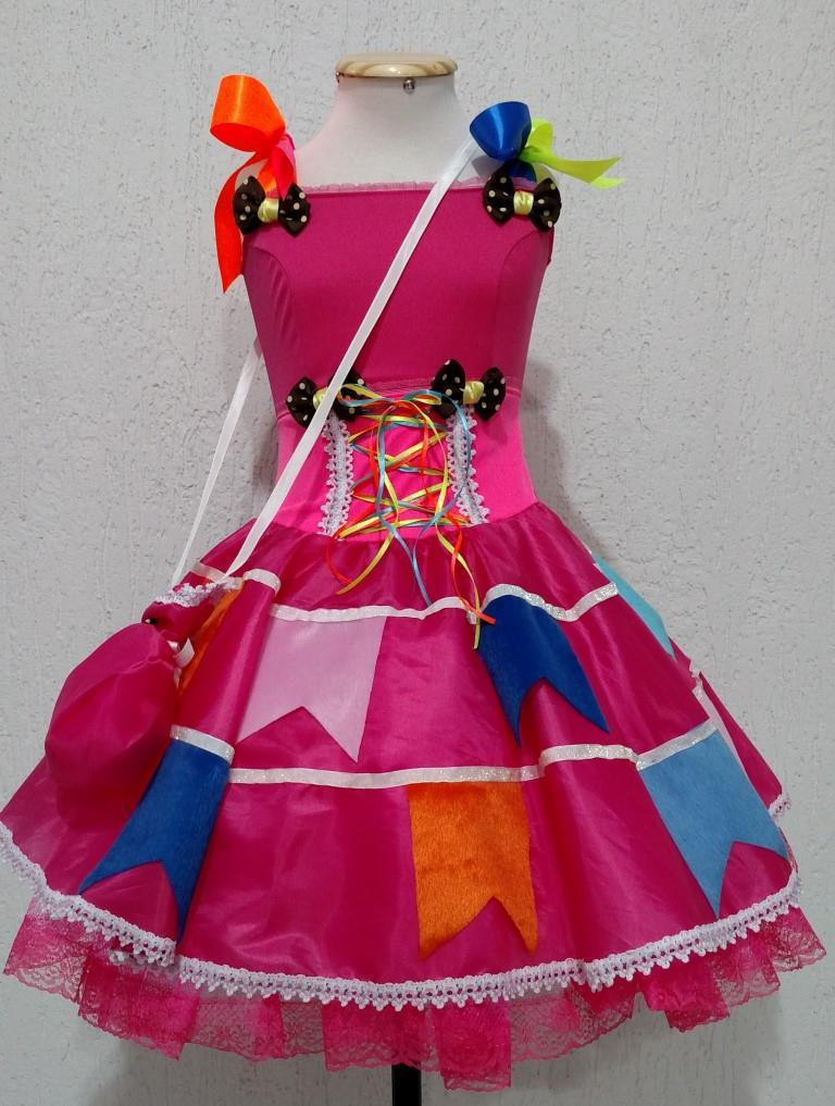 Fantasia Junina Infantil - Antônia Pink Neon