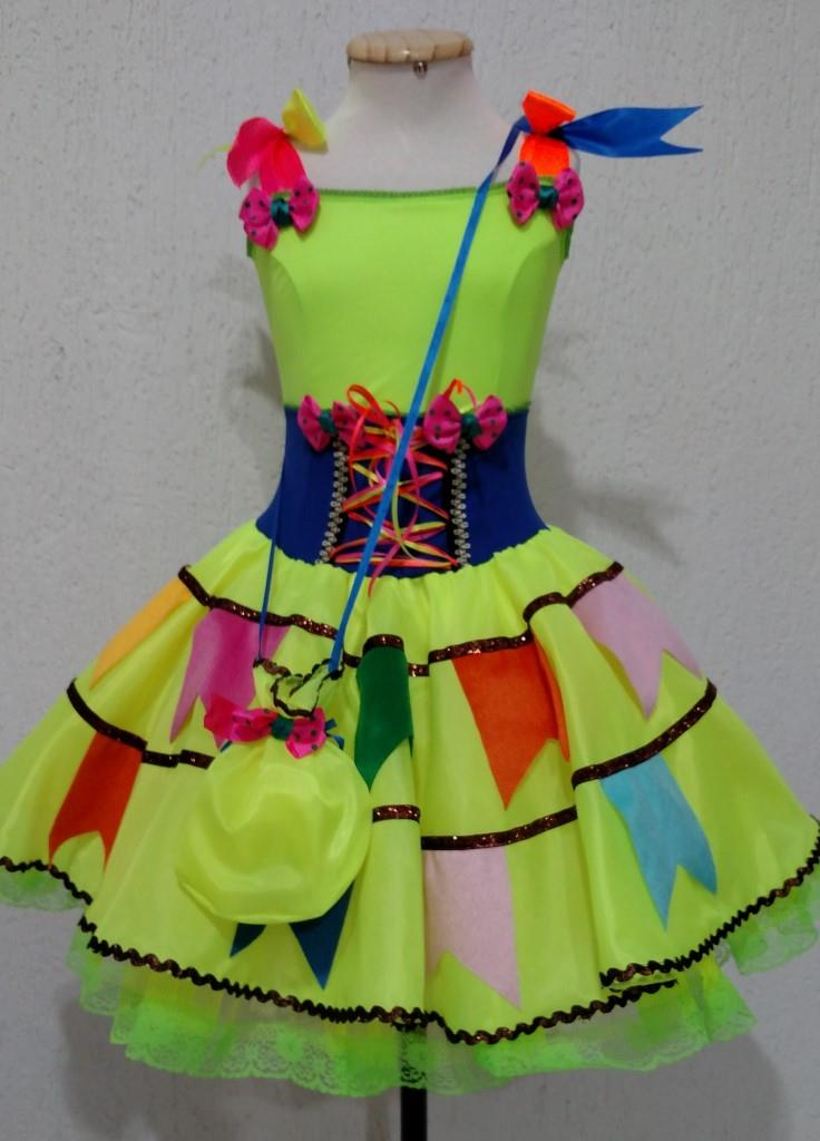Fantasia Junina Infantil - Antônia Verde Neon