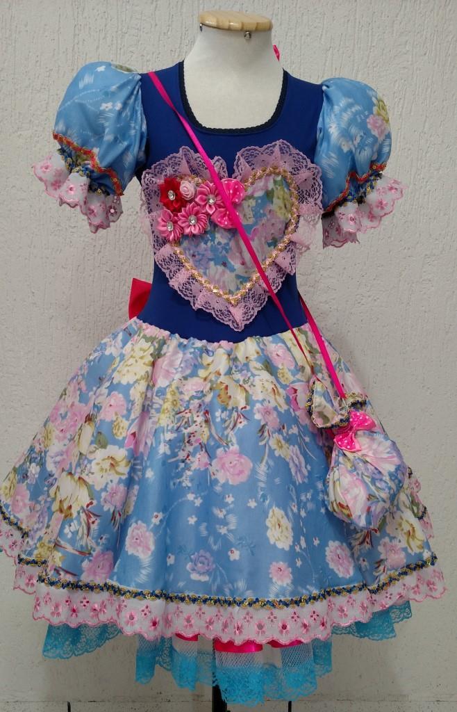 Fantasia Junina Infantil - Gabriela Royal Azul Claro
