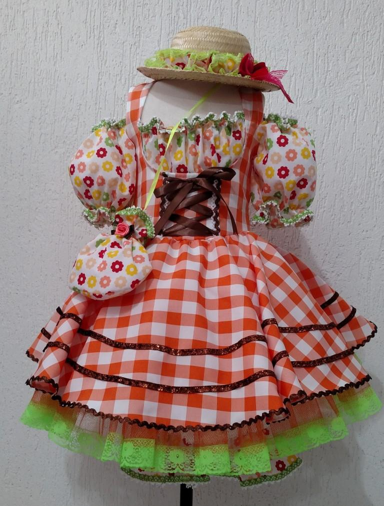 Fantasia Junina Infantil - Moça Bonita Laranja