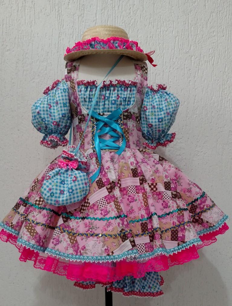 Fantasia Junina Infantil - Moça Bonita Rosa e Azul