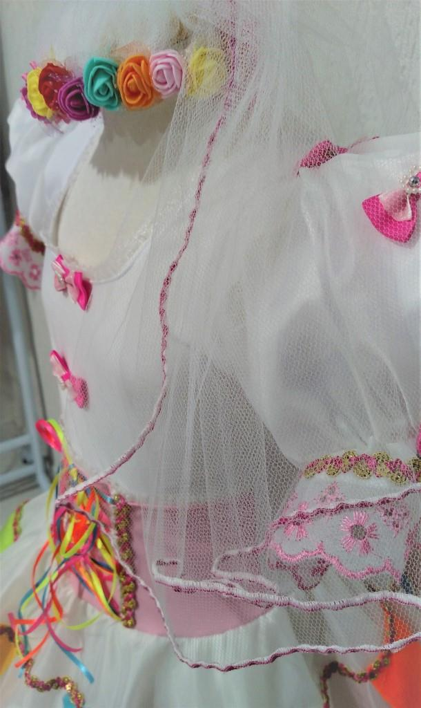 Fantasia Junina Infantil - Noiva Antônia Branco