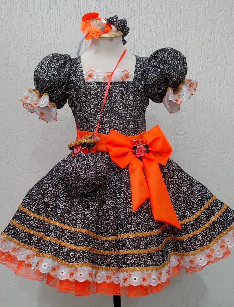 Fantasia Junina Infantil - Rosa Menina Laço Laranja