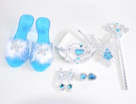 Kit Princesa Coroa, Colar, Sandália e Varinha  Azul