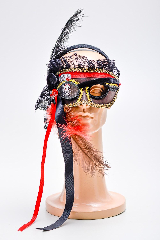 Mascara Pirata Veneziana com Plumas