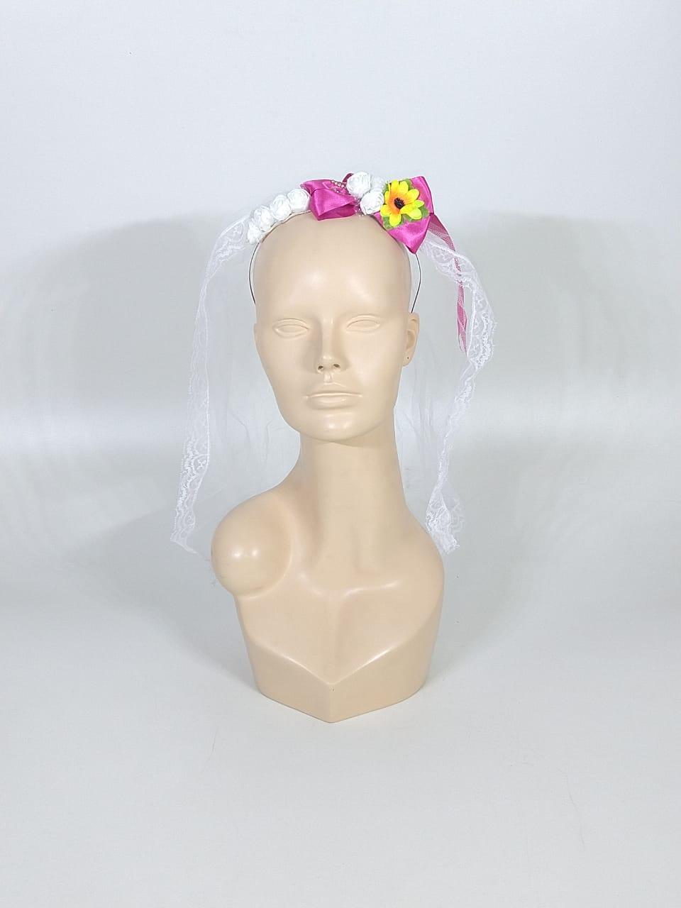 Noiva Junina Infantil Amarelo e Pink