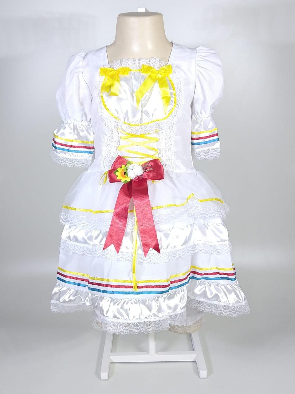 Noiva Junina Infantil Amarelo e Vermelho