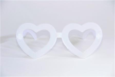 Óculos Pct Com 10 Neon Fosforecente Branco Coração