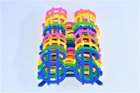Óculos Pct Com 10 Plástico Colorido Cifrão