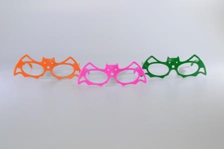 Óculos Pct Com 10 Plástico Colorido Morcego Mascara