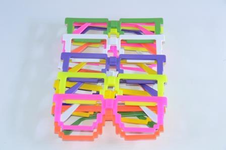 Óculos Pct Com 10 Plástico Colorido Quadrado