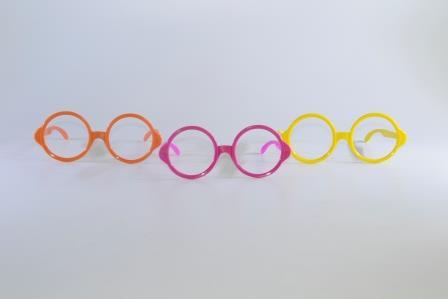 Óculos Pct Com 10 Plástico Colorido Redondo Gd
