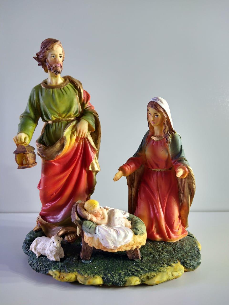 Presépio Maria, José, Jesus E Ovelha