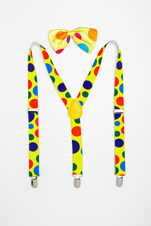 Suspensório de palhaço com gravata borboleta de bola