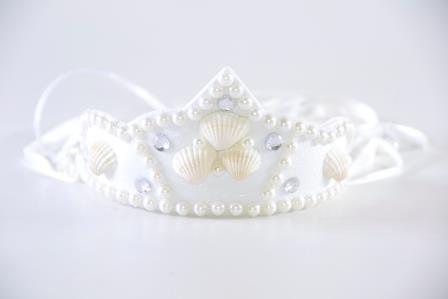 Tiara Conchas Com Perolas Branco