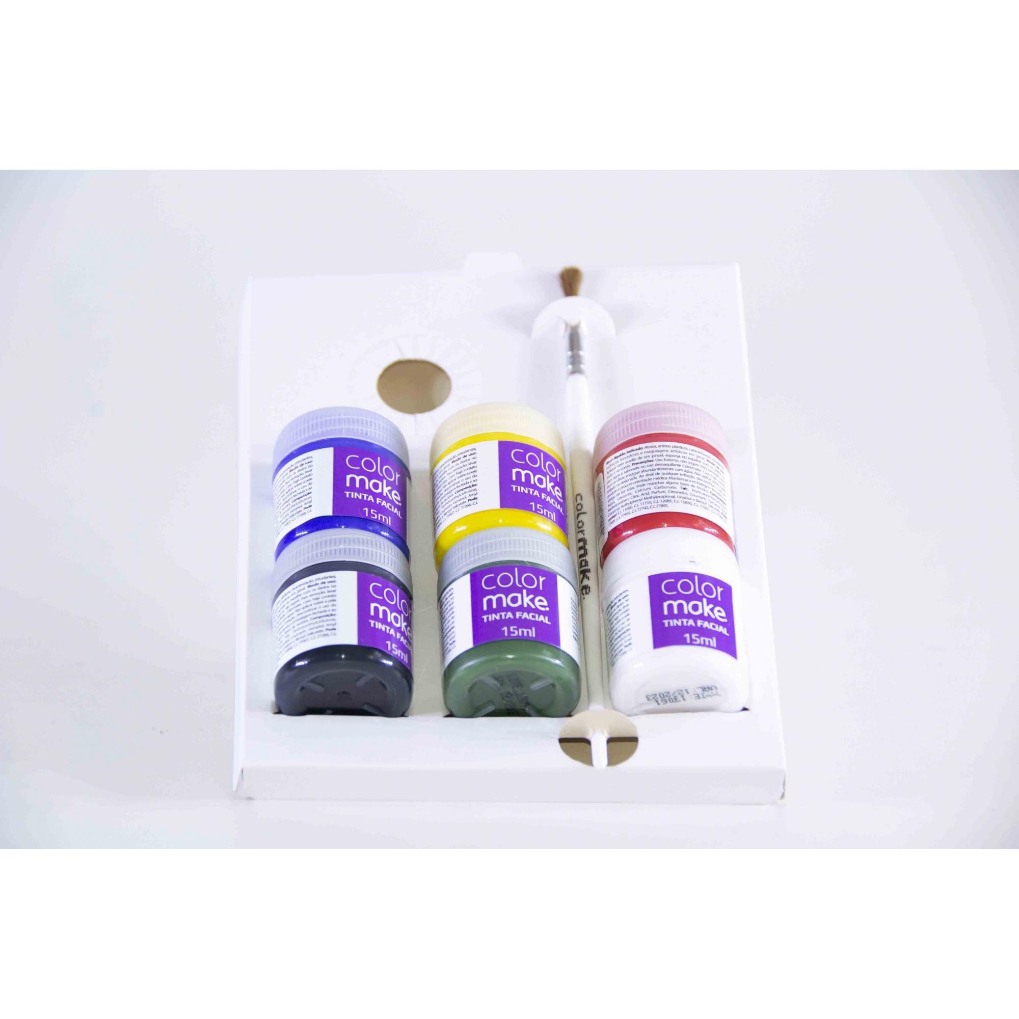 Tinta Líquida Facial Com Pincel 6 Cores (15Ml Cada) - Color Make