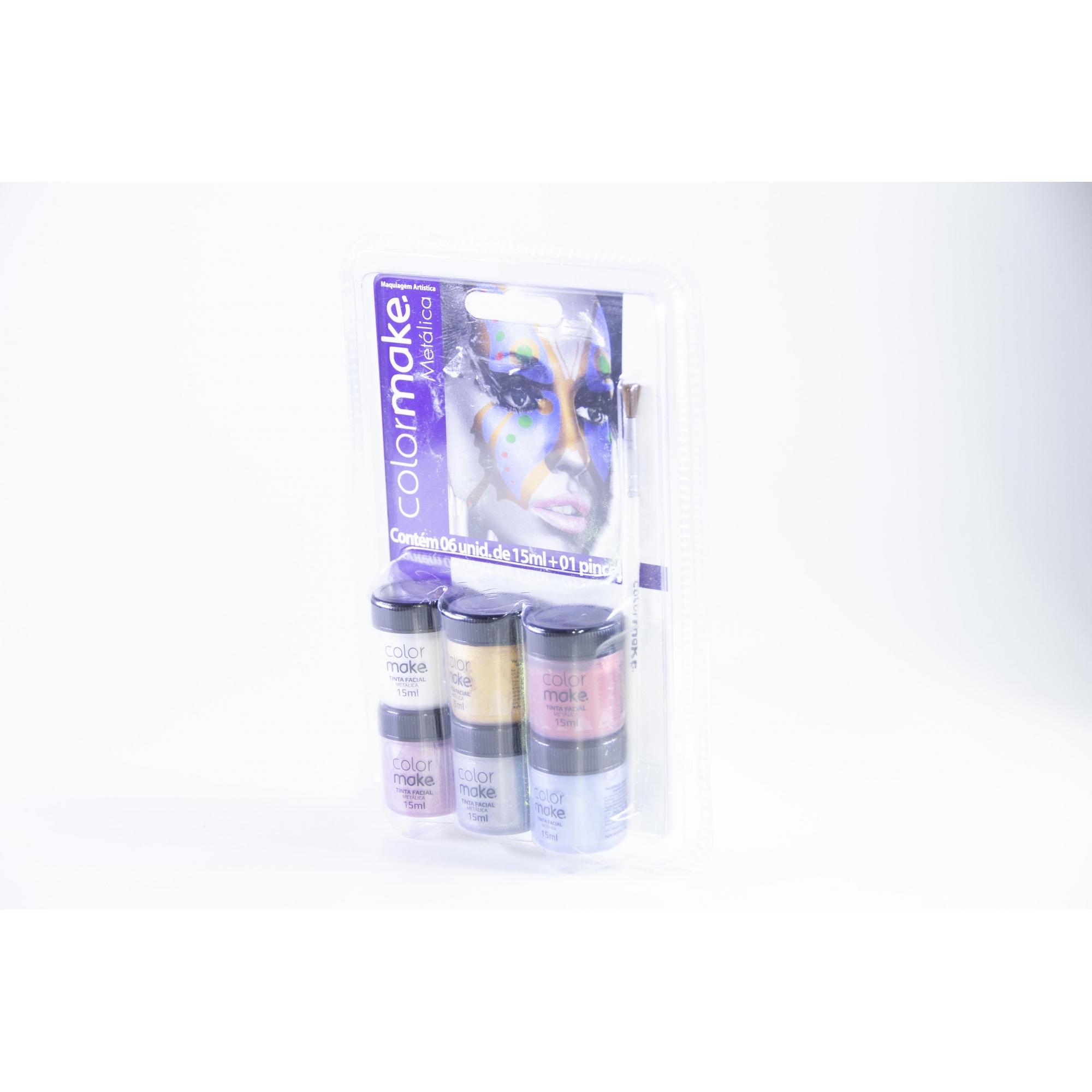 Tinta Líquida Metálica Blush Líquido 6 Cores (15Ml Cada) Com Pincel