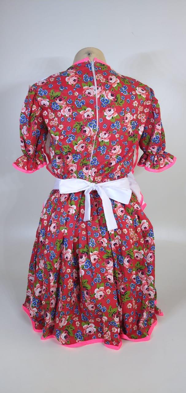 Vestido Adulto Junino Avental Pink Flores Tam. M