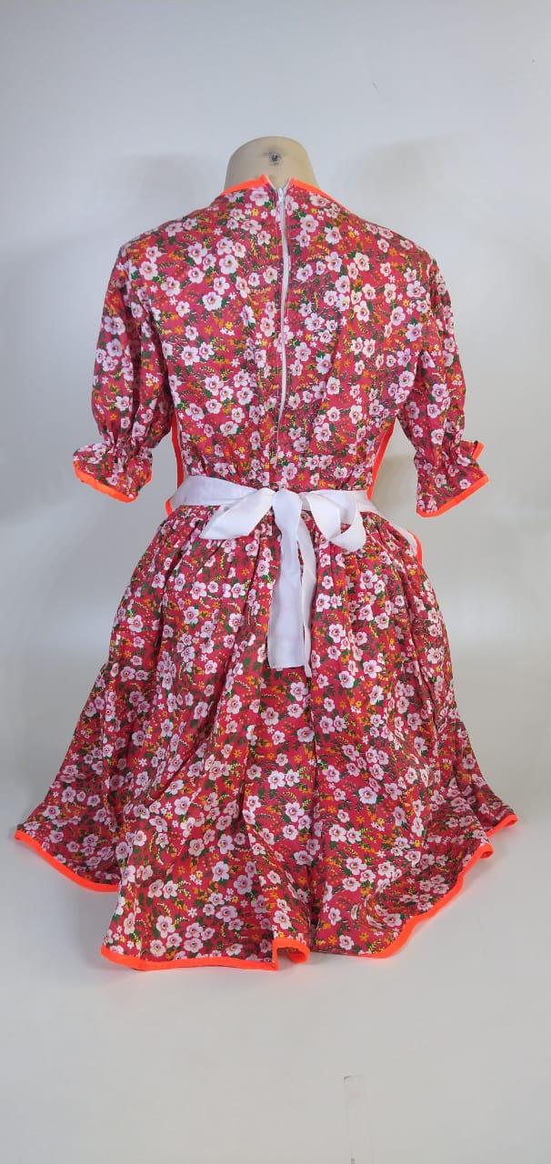 Vestido Adulto Junino Avental Vermelho Flor Tam. M