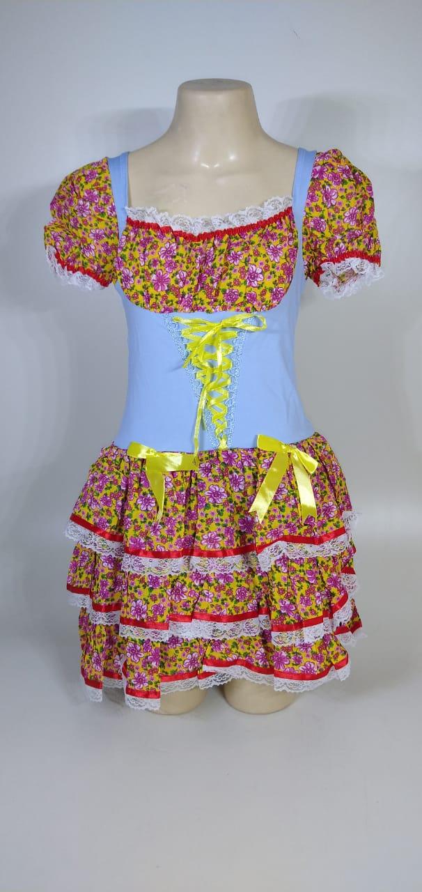 Vestido Caipira Adulta Amarelo com Flores Tam. M