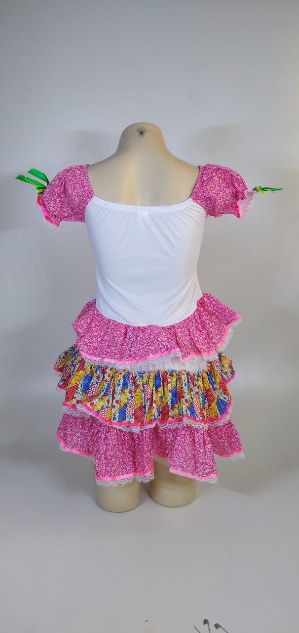 Vestido Caipira Adulta Branco Rosa Xadrez Tam. GG