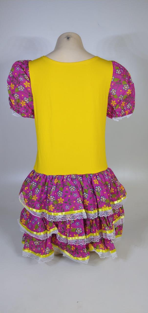Vestido Caipira Adulta Rosa Amarelo Flores Tam. GG
