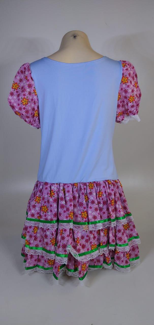 Vestido Caipira Adulta Rosa Azul Flores Tam. GG